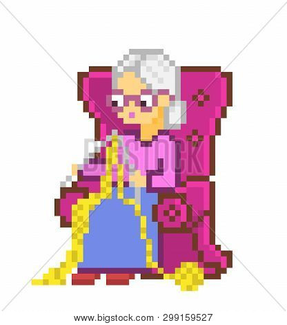 Grandmother In Armchair Knitting, 8 Bit Pixel Art Character Isolated On White Background. Old Lady I