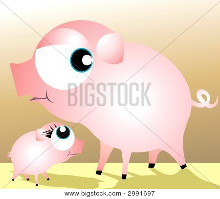 A Mother Pig And Piglet