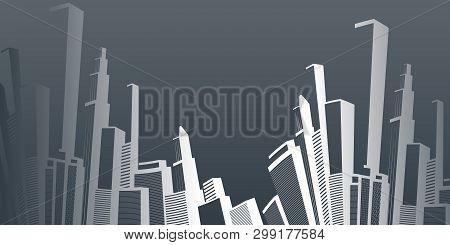 Metropolis - Abstract Black And White Urban Cityscape Silhouette, Vector Design