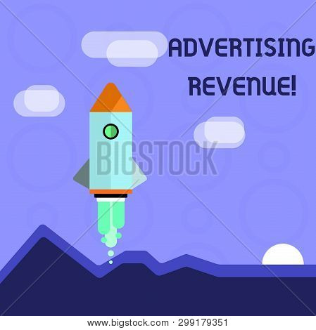 Conceptual Hand Writing Showing Advertising Revenue. Business Photo Showcasing Money Media Earn From