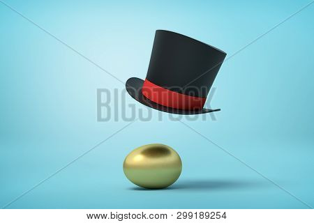 3d Rendering Of A Golden Hen Egg And A Black Tophat Floating In The Air Above It On Light Blue Backg