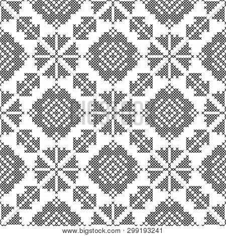 Cross-stitch. Black And White Seamless Decorative Pattern. Ornamented Background For Design, Wallpap