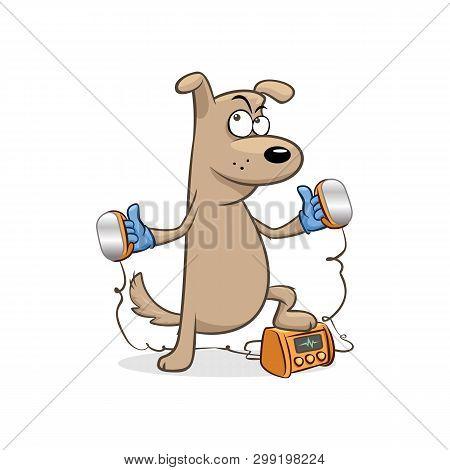 Doctor Dog Gloves Heart Defibrillator Paddles Vector Illustration