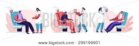 Volunteers Male Characters Sitting In Medical Hospital Chairs Donating Blood. Doctor Woman Nurse Tak