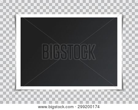 Vector Photo Frame Mockup Design. Retro Realistic Vector Photo Frame Placed On Transparent Backgroun