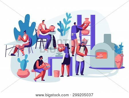 Characters Making and Decorating Pots, Earthenware, Crockery and Other Ceramics at Pottery Workshop. Group of People Enjoying Their Hobby. Painting, Baking in Oven. Cartoon Flat Vector Illustration poster