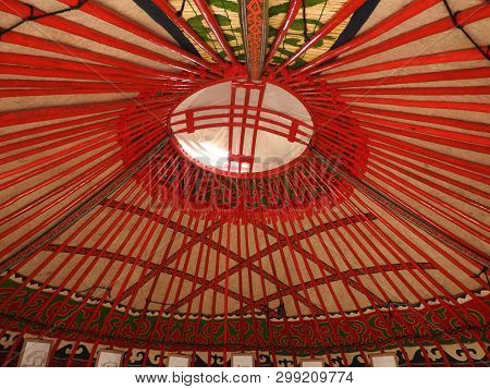 National Traditional Decoration Of The Ceiling And Walls Of The Mongolian Yurt.vintage Weave Pattern