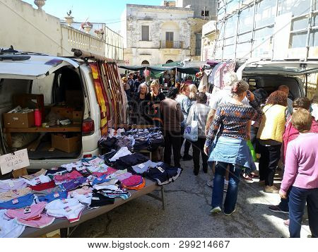 Nadur Gozo, Malta, - Circa May 2nd 2019 - Weekly Street Markets Are Called Monties By The Locals In