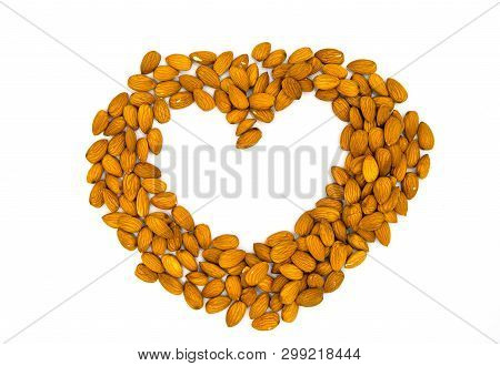 Heart Frame From Almond On White Background. Love To Natural Food Concept. Almond Heart On White Tab