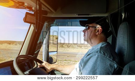 Truck Drivers Big Truck Right-hand Traffic Of Drivers Hands On Big Truck Steering Wheel