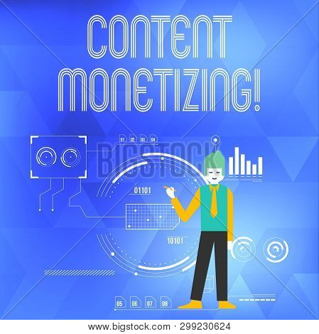 Word writing text Content Monetizing. Business concept for making money from content that exists on your website Man Standing Holding Pen Pointing to Chart Diagram with SEO Process Icons. poster