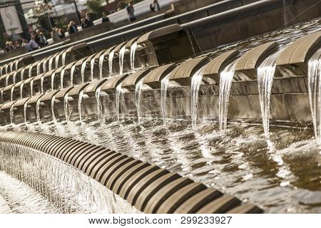 Water Cascade And Fountain Outside Sheffield Station In Sheaf Square, Sheffield, South Yorkshire, Uk