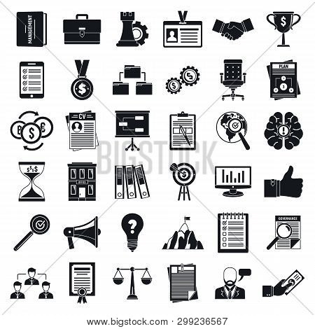 Corporate Governance Office Icons Set. Simple Set Of Corporate Governance Office Vector Icons For We