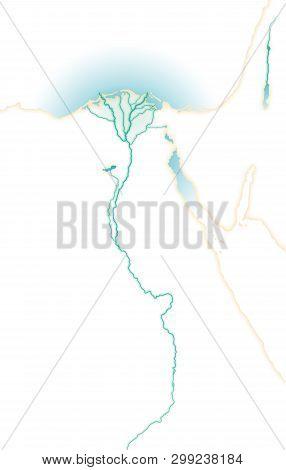 Deep Affluent Fertile River Nile, Map Of Upper And Lower Egypt, Northern Africa, Eastern Mediterrane