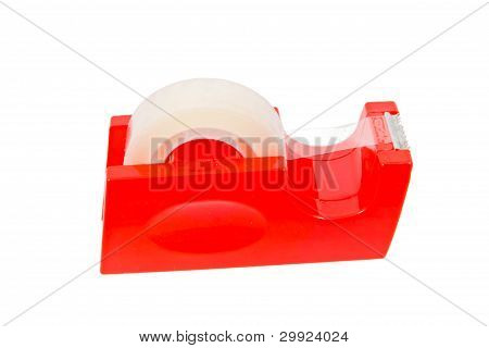 Red Stickytape Holder Isolated On White