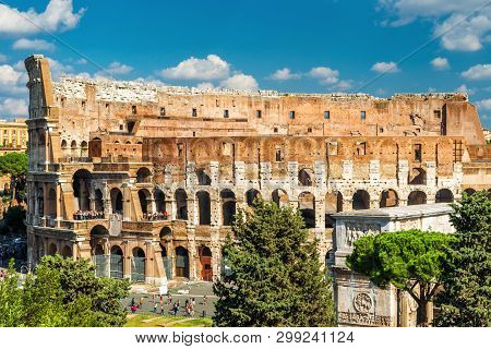 Colosseum Or Coliseum Close-up, Rome, Italy. It Is A Top Landmark Of Rome. Scenic View Of Ancient Ro