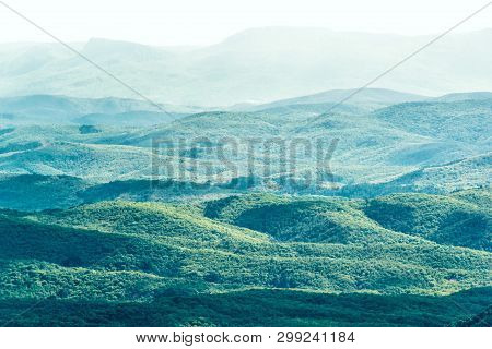 Mountain Landscape Background. Nature Of Southern Crimea, Russia. Panorama Of Mountainous Terrain In