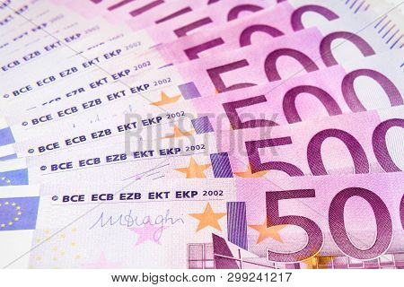 500 Euro Money Notes Like A Fan. Five Hundred Bills Of European Union Currency. Stack Of Euro Money