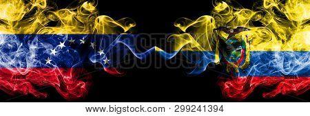 Venezuela Vs Ecuador, Ecuadorian Smoky Mystic Flags Placed Side By Side. Thick Colored Silky Smoke F