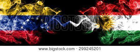 Venezuela Vs Kurdistan, Kurdish Smoky Mystic Flags Placed Side By Side. Thick Colored Silky Smoke Fl