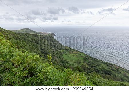 Groovy View From The Miradouro Da Fajã Do Conde Viewpoint In Flores, Azores.