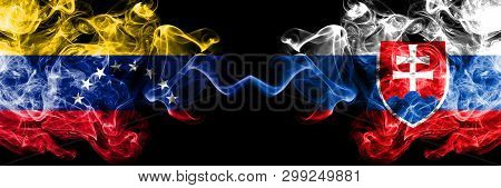 Venezuela Vs Slovakia, Slovakian Smoky Mystic Flags Placed Side By Side. Thick Colored Silky Smoke F