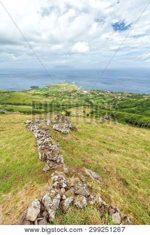 Portrait View Of Ponta Delgada On The Island Of Flores In The Azores.