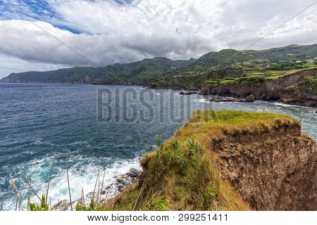 Rocky Coast Near Ponta Delgada On The Island Of Flores In The Azores.