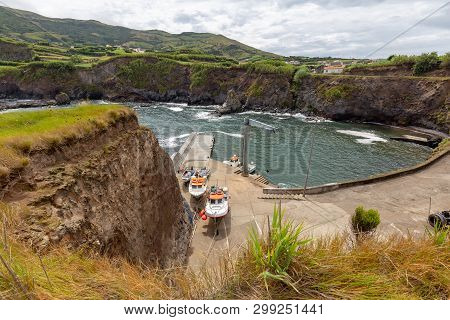 Boats Docked In Ponta Delgada On The Island Of Flores In The Azores.