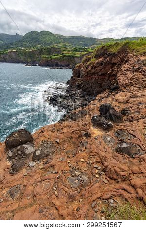 Interesting Lava Rocks On The Cliffs Below Ponta Delgada On The Island Of Flores In The Azores.