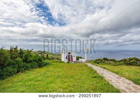 The Small White Ermida De Sao Joao Baptista Chapel Above Ponta Delgada, On The Island Of Flores In T