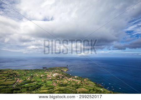 Beautiful Clouds Above Ponta Delgada On The Island Of Flores In The Azores.