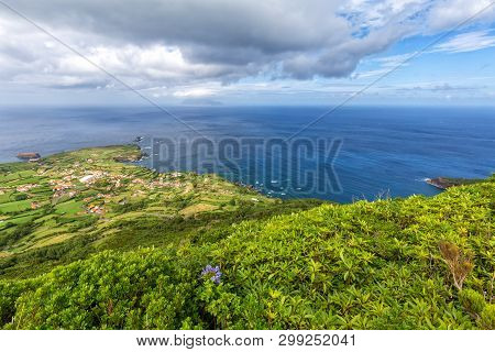 Wide Angle Shot Of Ponta Delgada On The Island Of Flores In The Azores.