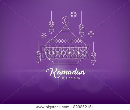 Ramadan Kareem Greeting Card. Ramadan Kareem Islamic Design With Mosque Dome And Lanterns. Ramadan B