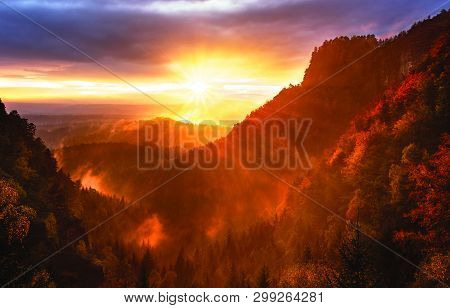 Beauty Of Sunset And Sunrays On Mountains