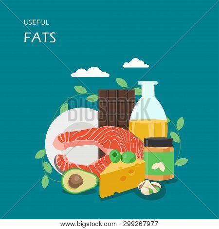 Useful Fats Vector Flat Style Design Illustration