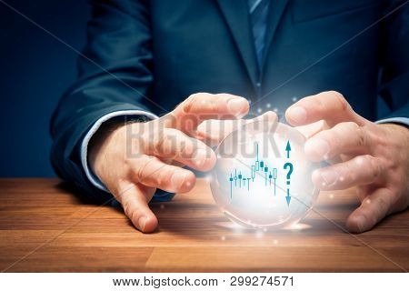 Investment Prediction And Planning. Look Into The Crystal Ball. Investor Visionary With Crystal Ball