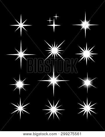 Set Of Sparkle Star, Sparkles Star Isolated Vector. Sparkles Icon, Sparkle Light. Sparkling Stars. S
