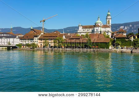 Solothurn, Switzerland - July 10, 2016: Buildings Of The Historic Part Of The City Of Solothurn Alon