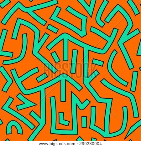 Abstract Orange And Green Graffitti Seamless Pattern. Vector Background.