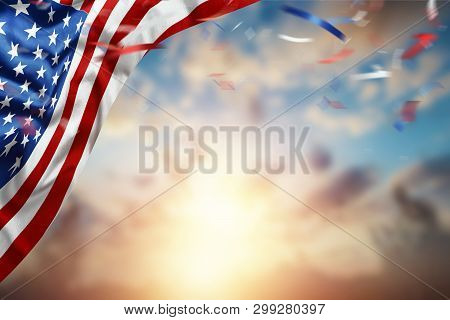 Creative Background, American Flag On Beautiful Sunset Background, Independence Day. 4Th Of July Day