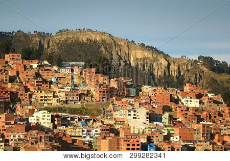 Aerial View Of The Hillside Residential Area Of La Paz, Bolivia, South America