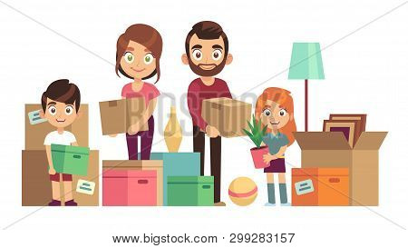 Family Moving New Home. Happy People Packing Unpacking Boxes Cardboard Package Deliver Parents Kids