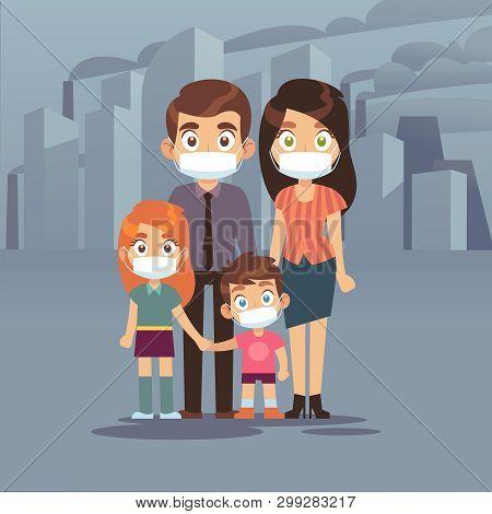 Family City Smog. People Protective Face Masks Pollution Air Smog Toxic Industrial Harmful Waste Dus