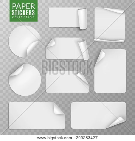 Paper Stickers Set. White Label Sticker Page, Blank Badge Bent Note Sticky Banners Curled Corners Wr