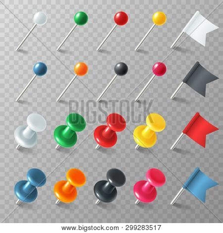 Pins Flags Tacks. Colored Pointer Eps Marker Pin Flag Tack Pinned Board Pushpin Organized Announceme