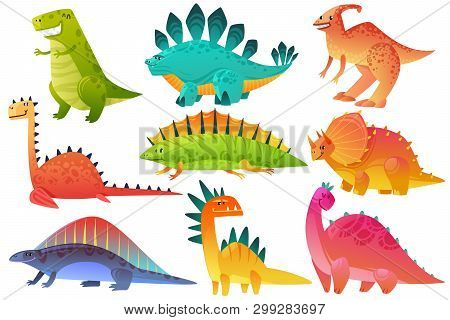 Cute Dino. Dinosaur Dragon Wild Animals Character Nature Happy Kids Pterosaur Brontosaurus Dinos Fig