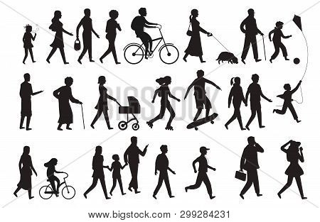 Walking Persons Silhouette. Group People Young Woman Lady And Child Walking Family Isolated Vector B