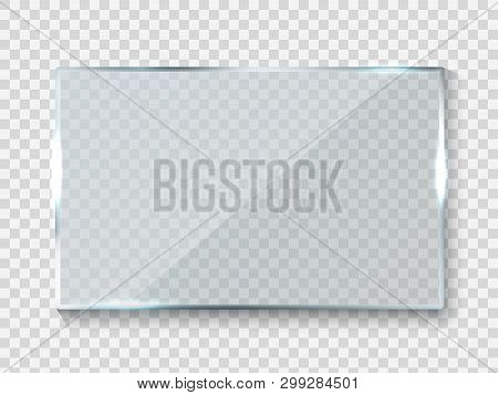 Reflecting Glass Banner. Gloss Rectangle Reflection 3d Panel Texture Or Clear Window On Transparent