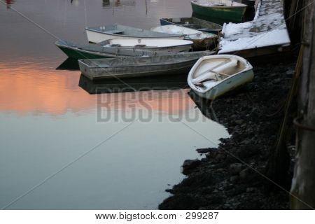 Dories At Low Tide Horizontal